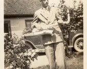 Vintage photo 1920s Super Cute Tall Young Man w Saxophone by Car in Yard