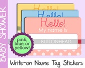 10 Baby Shower Name Tags Stickers - Pink, Blue, or Yellow