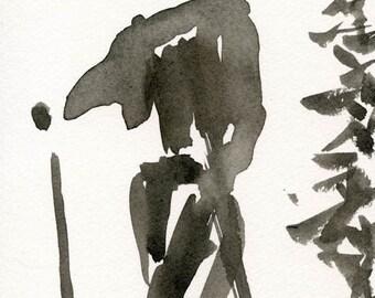 Ink drawing  The Skier // original painting  wall art  indian ink  ooak
