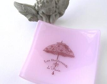 Les Boulevards de Paris - Petal Pink Memento Dish - Kiln Formed Glass - Vintage Parasol - Gift for Pied-à-terre - Hostess Gift