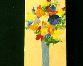 Tiny Bouquet of Flowers, Flower Bouquet Painting, Acrylics on Miniature Canvas, Original Abstract Flowers, Optional Easel