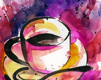 "Coffee Cup painting, Colorful Abstract Coffee watercolor art, Original ooak painting ""Coffee Dreams 5""  by Kathy Morton Stanion  EBSQ"