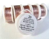 Rose Gold Plated Wire, 20 Gauge Wire, Round, Half Hard Wire for Wrapping Stones, Gemstone Supplies, Soft Wire, Non Tarnish