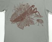 Praying Mantis Shirt - Men's insect T-shirt - Screen Printed Shirt - Praying Mantis - Beetle - Animal Tshirt