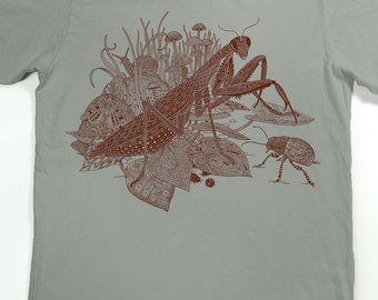 Praying Mantis Shirt - Men's insect T-shirt - Screen Printed Shirt - Praying Mantis - Beetle - Animal Tshirt