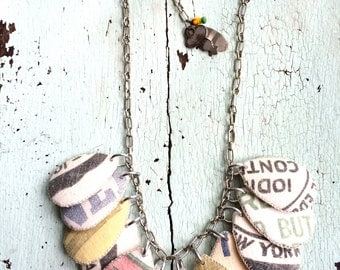 Grain Sack Textile Necklace