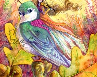 Fairy Art Print Emerald Bird Orange Violin