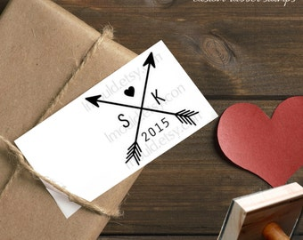 0323 Modern Rubber Stamp JLMould Arrows and Initials Wedding Invitations SavetheDate Cards Birthday or Anniversary Cards