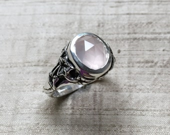 The Ivy Ring with Rose-Cut Rose Quartz in Sterling Silver