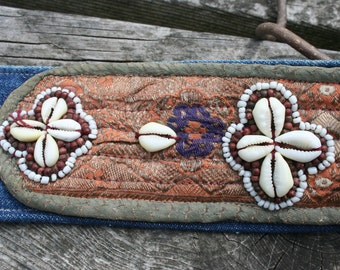 Puka shell and denim belt with wooden buckle small