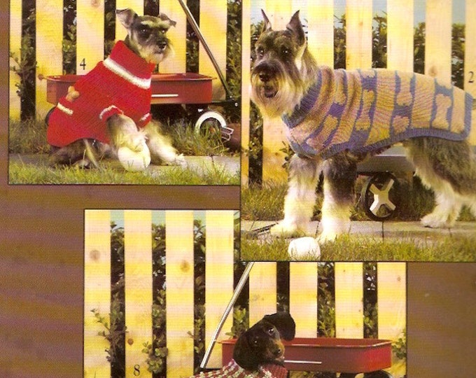 Dog coats Patterns Knitted Crochet Leisure Arts 934 booklet Ten designs how to instructional designs for pet fashions