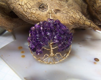 Amethyst Tree of Life necklace pendant with chain - Amethyst Necklace pendant - 14 Karat Gold fill Tree of Life pendant  February Birthstone
