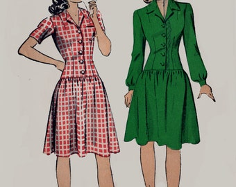 1940s Dropped Waist Button Front Dress Du Barry 5421 Teen Age Vintage 40s Sewing Pattern Size 12 Bust 30