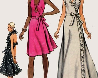 1970s Wrap Halter Evening Dress with Ruffles Vogue 8355 Vintage 70s American Hustle Style Sewing Pattern Size 14 Bust 36