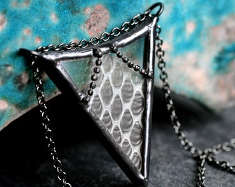 real snakeskin necklace arrow pendant chevron pendant statement necklace boho necklace steampunk stained glass taxidermy SNAKESKIN ARROW