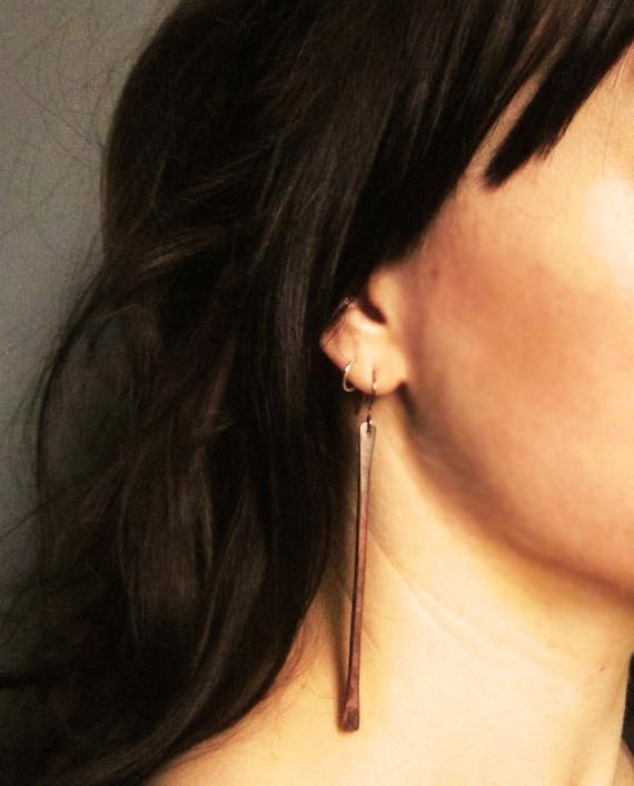 rustic copper earrings minimalist earrings oxidized heat patina long dangle earrings simple modern forged COPPER STICKS