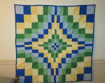Handquilted Quilt, Handmade Quilt,  Lap Quilt, Blue, Green, Yellow, wall hanging, Fiber Art, Quilting