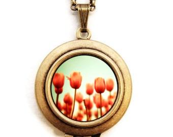 Photo Locket - Red Tulips Photo Locket Necklace
