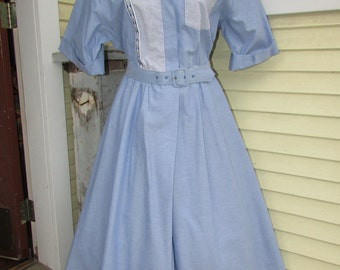 blue Rockabilly Shirt Dress Vintage 80s 50s Style Full Swing Cotton Party 10
