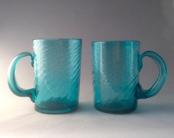 Vintage Turquoise Set of Blown Glass Mugs
