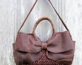 Woven Basket Bag with Leather Bow by Stacy Leigh Ready to Ship SALE