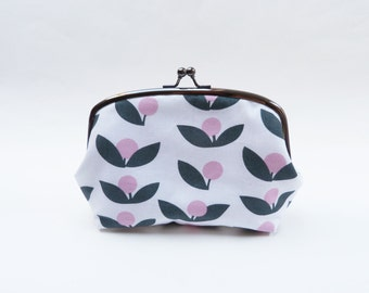 Pink, grey and white cotton berry and leaf fabric cosmetic bag