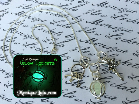 Tinkerbell Glowing Orb with Fairy Keys Charm Necklace with Free UV CHarger Light