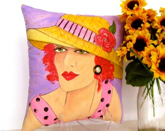 MOTHER'S  PILLOW, hand painted pillow, stand, lavender, pink, straw hat, mother's  quote, gift for Mother, decorative pillow, Mom gift
