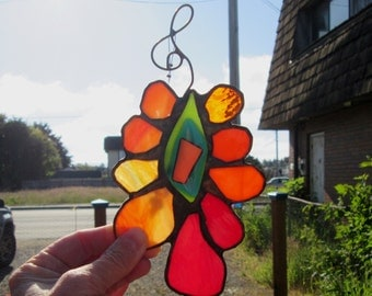 Amazing Stained Glass Flower with Fused Centerpiece, Dichro, and Beads - Gold Lantern