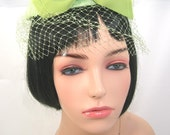 Vintage Woman's Hat, Lime Green, Front Bow, Easter Hat, circa 1960s, Birdcage Halo with Netting, Fascinator, Minty Mid-Century Mod
