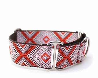 "1.5"" Hotel Budapest Red martingale or buckle collar"