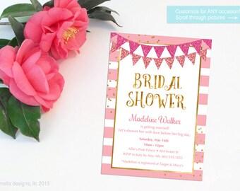pink bridal shower invitation, gold confetti, pink and gold invitation, pink and gold party, pink and gold banner, pink glitter - PRINTABLE