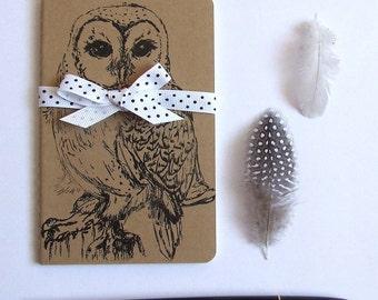 Barn Owl Notebook, Moleskine Notebook, Hand Printed Bird NoteBook