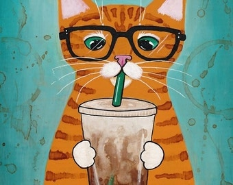 Ginger Coffee Cat - Cat Folk Art Print 8x10, 11x14