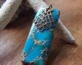 EN067 turquoise blue magnesite stone necklace
