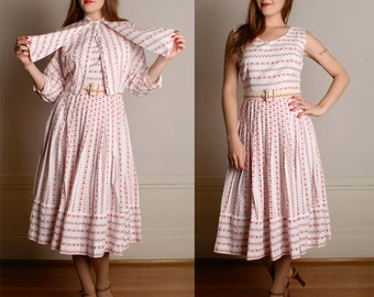 Vintage 1950s Dress & Blouse - Two Piece Novelty Print ROOSTER Dress - Medium