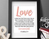 PRINTABLE ART, Love is Patient, 8x10, Bible verse, home decor, wall art for nursery, kitchen, wedding, housewarming, wedding wall art - 7