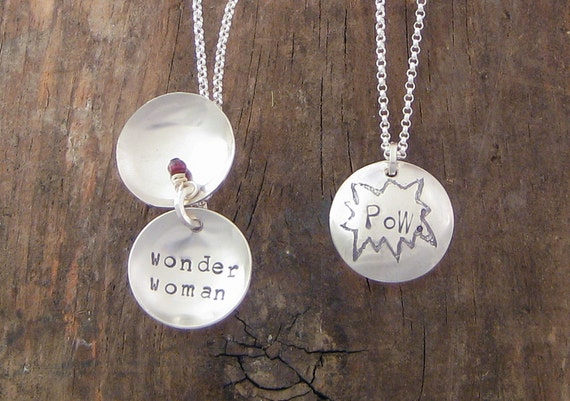 POW Wonder Woman Recycled Sterling Silver Clamshell Necklace