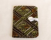 Clearance Tea Bag Wallet -Brown and Green Diamonds