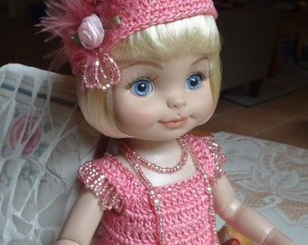 Crochet outfit for Tonner Half Pint Ann Estelle Patsy Doll 10 11 inch Flapper Hat Dress Maryjanes Necklace Feather Rose