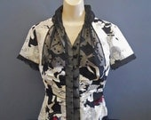 Retro Blouse, Button Down Blouse, Tops for Women, OOAK Clothing, Rosalba Valentino Couture, 1930's Inspired Fashion, Couture Clothing