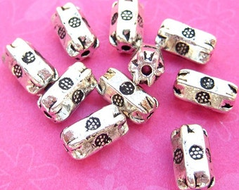 9 Tube Beads, Column Beads, Silver Plated, 9mm x 5mm, Floral Beads, Bali Style, Spacer Beads, DIY Jewelry, Silver Beads - TS111B