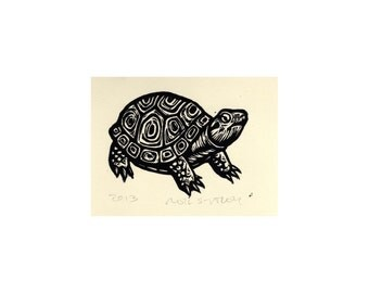 Linocut Art Print Turtle Wall Decor