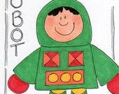 "Original Illustration - Folk Art - Cute Whimsical - 3"" x 4"" - Robot"