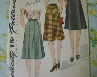 Vintage Simplicity 4355 Ladies 1940s Skirt pattern