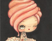 Cupcake Print Tattooed Cake Girl Wall Art Whimsical Portrait 5 x 7