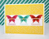 Butterfly Thank You Card - Thank You Note - Yellow Butterfly Cards - Hand Stamped Thank You Card