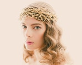 Golden bridal headpiece, Silver branches, Gold wedding crown, Bridal head piece, Wire branch headdress, Golden woodland crown - SOLSTICE