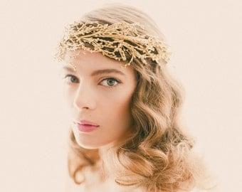 Golden bridal headpiece, Gold or silver wedding crown, Bridal head piece, Gold branch headdress, Golden woodland, Winter bride crown