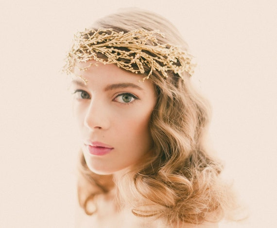 Golden bridal headpiece, Gold or silver wedding crown, Bridal head piece, Gold branch headdress, Golden woodland, Winter bride, WG07
